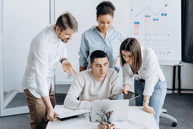 start-up business team thinking of ideas