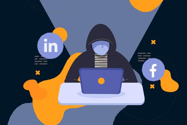 Social media hacker illustration
